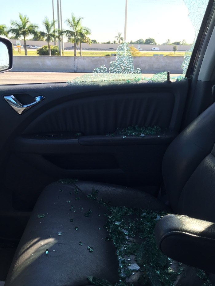 My car. Note the shattered glass.