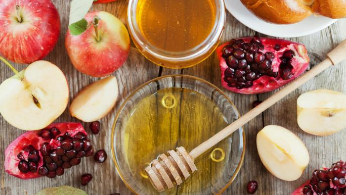 Rosh Hashana, Jewish New Year Holiday, honey, apple, pomegranate, hala